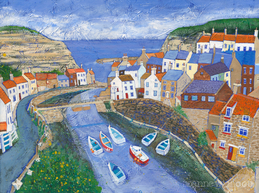 An art print of Staithes village looking down the beck and out to sea.