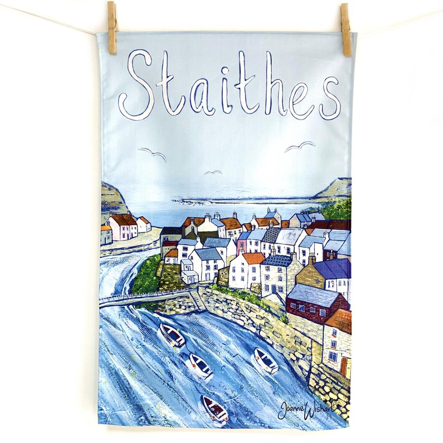 A tea towel of Staithes village.