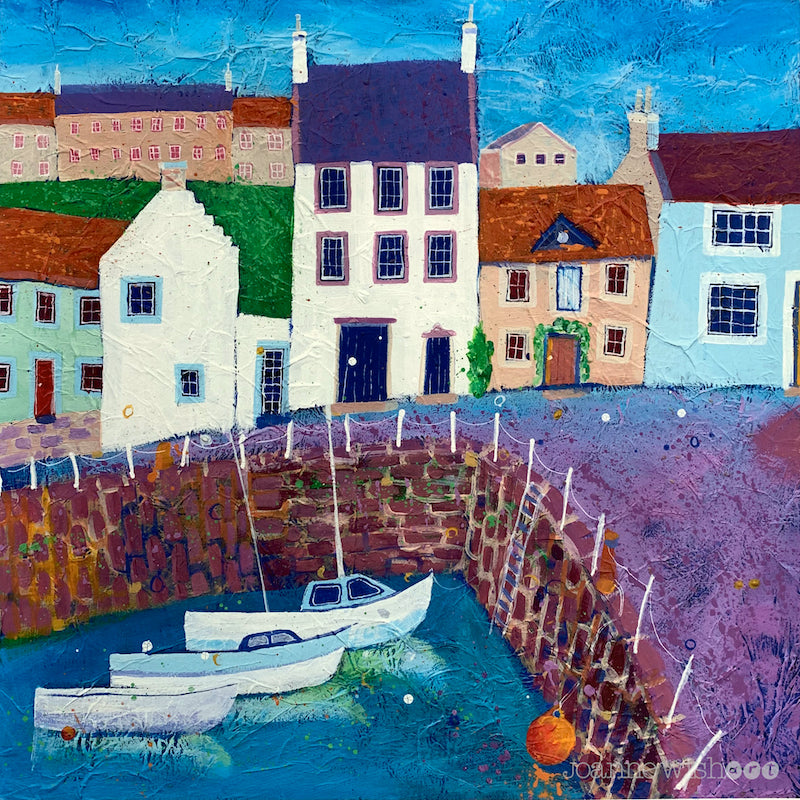 A fine art print of Crail fishing harbour.