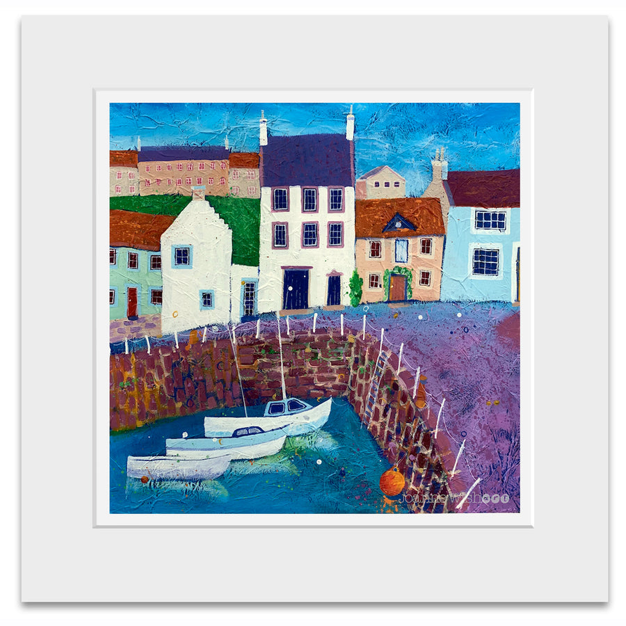 A mounted print of Crail harbour in Fife.
