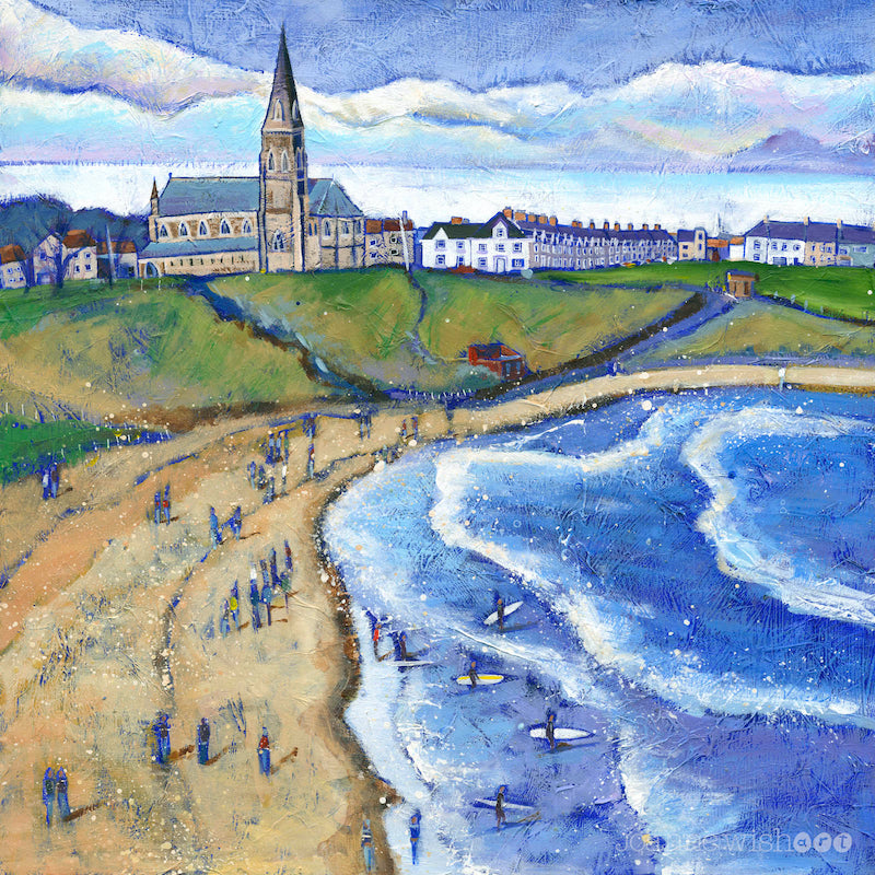 Tynemouth Longsands is a beach beloved by many - but especially by surfers. This beautiful giclee print by Joanne Wishart aims to celebrate their spirit.