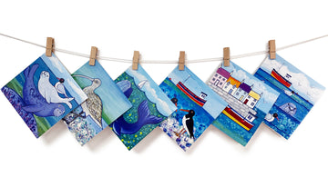 A multipack of greetings cards featuring seals, whales, curlew oyster catcher seas harbours.