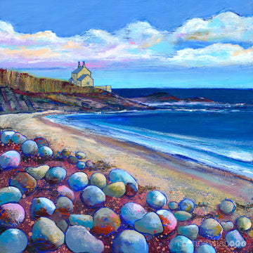 A print of the Bathing house at howick from Rumbling Kern Beach by Joanne Wishart.