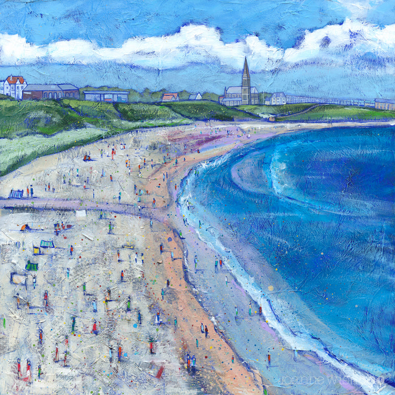 A fine art print of longhands beach on a summers day with St Georges church in the background.