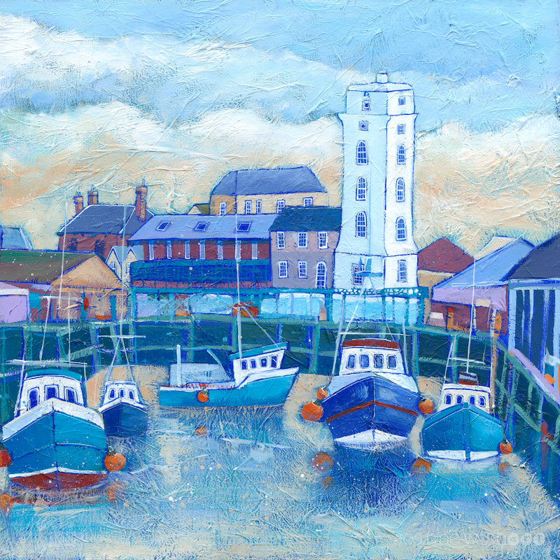 An art print of the north shields fish quay with a wintery sky.