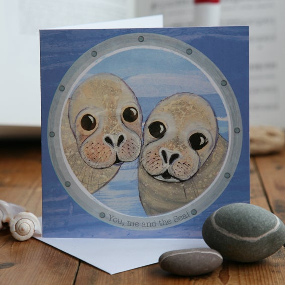 You, me and the sea! Greetings Card