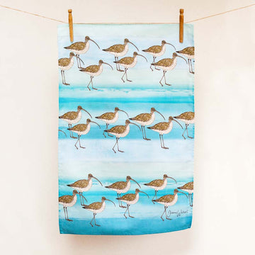 A curlew tea towel design on a blue sea green background.