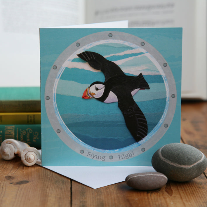 Flying High! Puffin Greetings Card