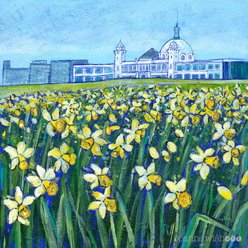 Daffodils at the Dome Whitley Bay Art Print