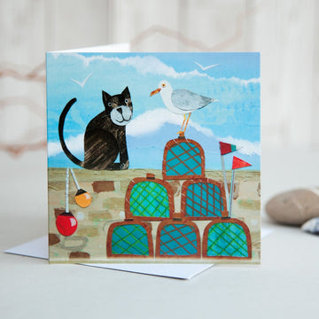 Cat & Lobster pots Card