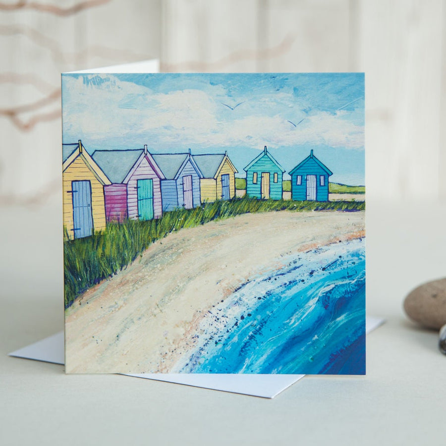 Beach Huts by the Sea Greetings Card