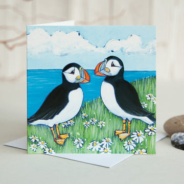 Puffin and Daisies Greetings Card