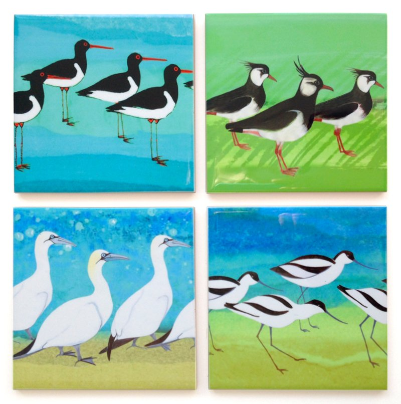 4 Shorebird Ceramic Coaster