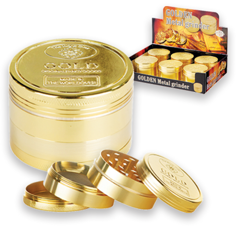 Tobacco Grinder - 4pc Gold Bar - 6's