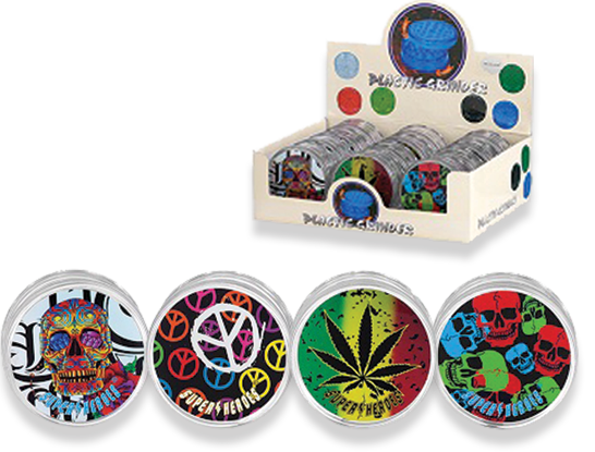 Tobacco Grinder - Super Heroes Plastic 3pc  Assorted 12's- 340174