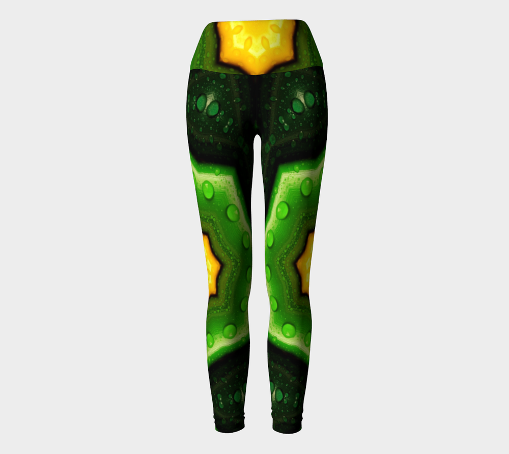 Hatha Zone Green Star High-Waist Yoga Legging Pant-Yoga Leggings-Hatha Zone
