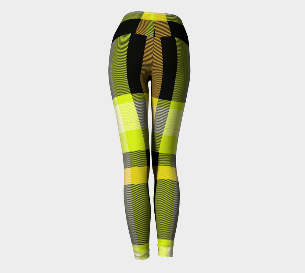 Hatha Zone Plaid Bee High-Waist Yoga Legging Pant-Yoga Leggings-Hatha Zone