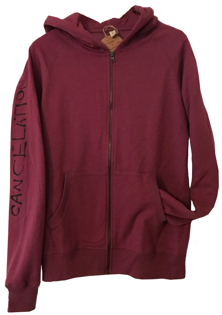 """Cancelation"" 100% Recycled zip Hoody plum"