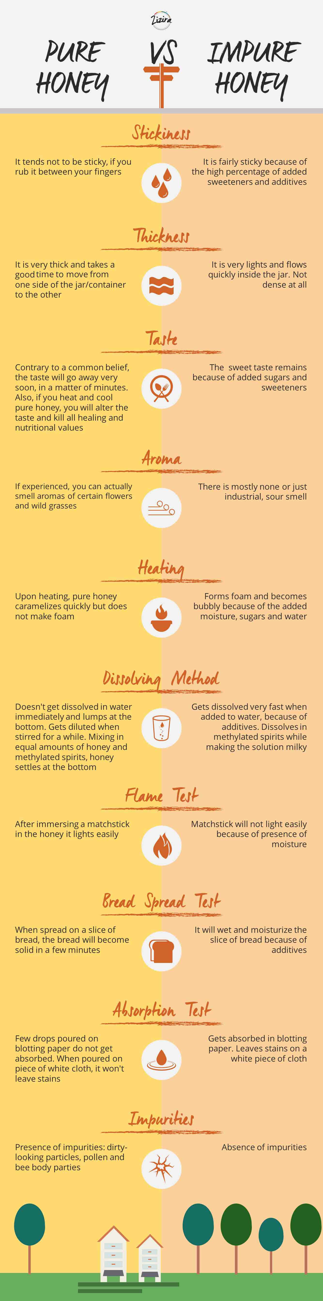 info-graphics of difference between pure and impure honey