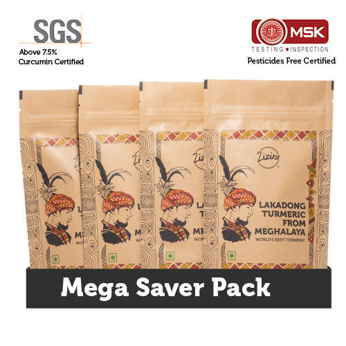 Mega Saver Pack- High Curcumin Lakadong Turmeric Powder 1Kg (Pack of 250g each)