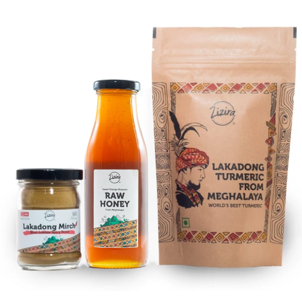 Meghalaya Nuti Stack - Lakadong Turmeric, Lakadong mirch, Orange blossom honey