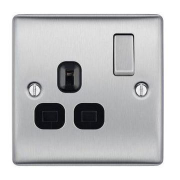 BG NBS21B Brushed Steel 1 Gang 13 Amp Switched Socket Double Pole Black Insert