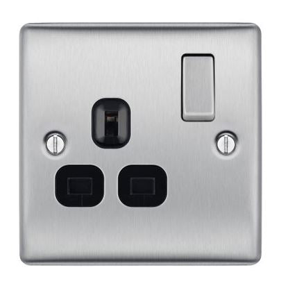 BG NBS21B Brushed Steel 1 Gang 13 Amp Switched Socket Double Pole Black Insert - SND Electrical Ltd