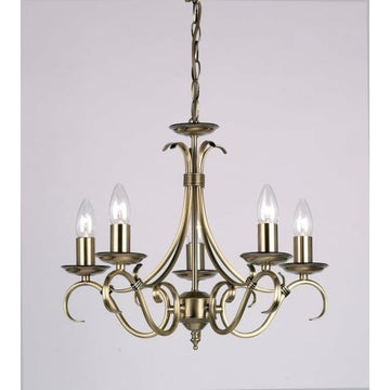 Endon 2030-5AN Bernice 5 Light Antique Brass Multi Arm Light