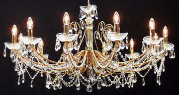 Fantastic Lighting Concerto P-1525/12 12 Light Multi Arm Crystal Chandelier - French Gold