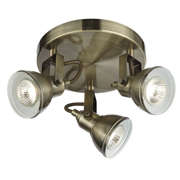 Searchlight 1543AB Focus 3 Light Antique Brass Ceiling Spotlight