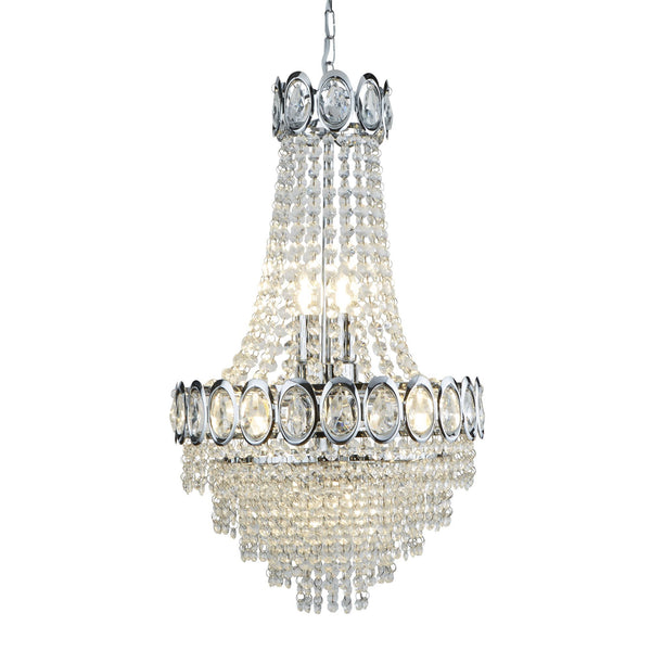 Searchlight 1611-6CC Louis Phillipe Chrome 6 Light Crystal Suspended Light - SND Electrical Ltd