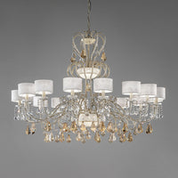 MASIERO 16+4+3 GALA TWO CROWNED GOLD CRYSTAL CHANDELIER - SND Electrical Ltd