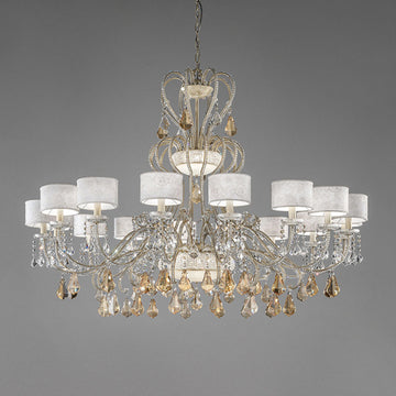 MASIERO 16+4+3 GALA TWO CROWNED GOLD CRYSTAL CHANDELIER