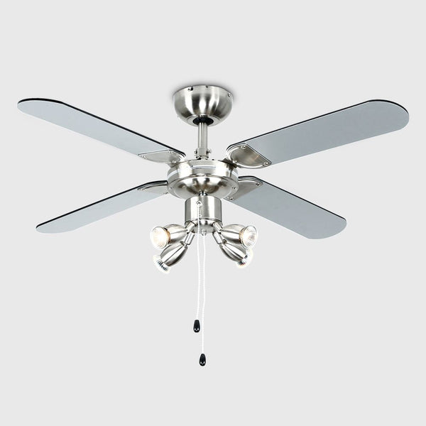 "Minisun 18574 Scimtar Brushed Chrome/Black 42"" Ceiling Fan with Spotlight"