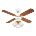 "MiniSun 18575 Hawker White & Polished Brass 36"" Ceiling Fan with 3 Lights"