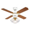 "MiniSun 18575 Hawker White & Polished Brass 36"" Ceiling Fan with 3 Lights - SND Electrical Ltd"