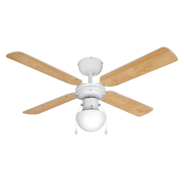 "MiniSun 18576 Nimrod White 42"" Ceiling Fan with 1 Light - SND Electrical Ltd"