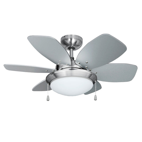 "MiniSun 18577 Spitfire Brushed Chrome 30"" Ceiling Fan with Light - SND Electrical Ltd"