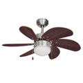 "MiniSun 18578 Typhoon Brushed Chrome 30"" Ceiling Fan with Light"
