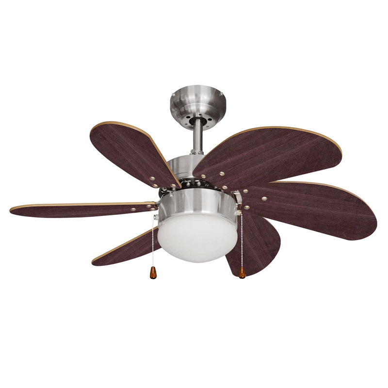 "MiniSun 18578 Typhoon Brushed Chrome 30"" Ceiling Fan with Light - SND Electrical Ltd"