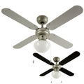 "MiniSun 19497 Mirage Silver Grey / Black 42"" Ceiling Fan with Opal Glass"