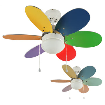 "MiniSun 19498 Candy Multi Coloured 30"" Celling Fan with Opal Glass"