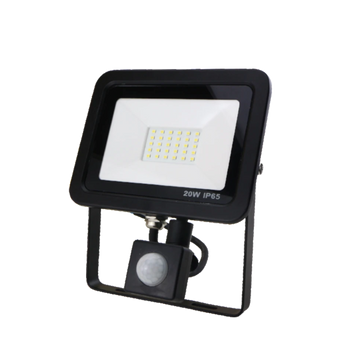 SND Electrical FLSMD20W/PIRO/3K/B -4 20w Floodlight 3000k Black (PIR)