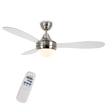 "MiniSun 21795 Sebring Brushed Chrome / Clear 48"" Ceiling Fan With Remote Control"