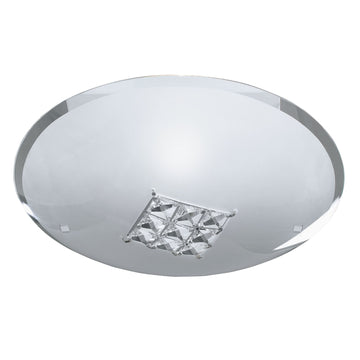 Searchlight 2198-32 Quadrex Round Flush Light with Square Crystal Windows