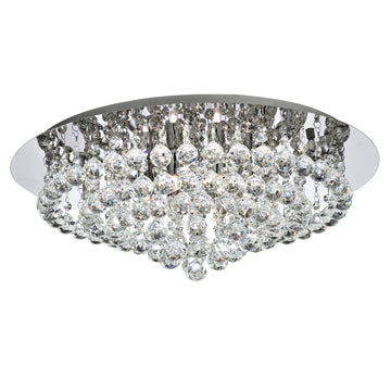 Searchlight 3408-8CC Hanna Chrome Crystal Balls 8 Light Flush Light