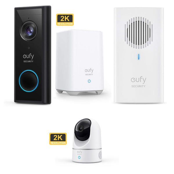 Eufy Video Doorbell 2K (Battery-Powered) with HomeBase 2 & Indoor Cam 2K Pan and Tilt &  Add on Doorbell Chime *Mega Bundle*