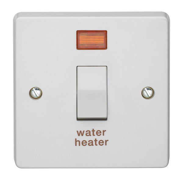 Crabtree Capital 4015/31 20A Dp Switch & Neon Printed 'Water Heater' Crabtree Capital - SND Electrical Ltd