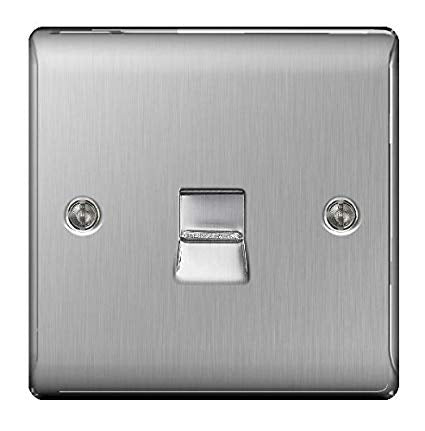 BG NBSBTM1 Brushed Steel 1 Gang Master (Primary) Telephone Socket - SND Electrical Ltd