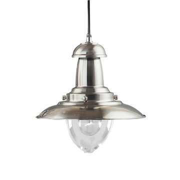 Searchlight 4301SS Fisherman Satin Silver Single Pendant